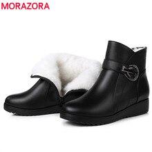 MORAZORA 2020 yeni moda kış kar botları doğal yün yarım çizmeler yuvarlak ayak fermuar kristal rahat takozlar ayakkabı anne ayakkabısı