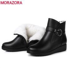 MORAZORA Botas de nieve de lana natural para mujer, botines informales con punta redonda y cremallera, cuñas de cristal, para invierno, 2020
