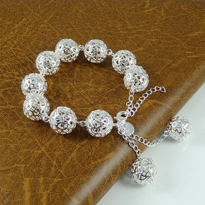 New 2019 Fashion 925 Silver Hollow Round Ball Charm Bracelets For Women Fashion Jewelry Chain Bracelet image