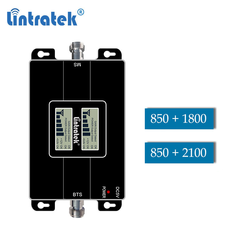 Lintratek CDMA 850 1800 Dcs 2g 3g GSM WCDMA 850mhz 2100 Dual Band Repeater Cellphone Signal Gsm Umts Booster 4g Amplifier LCD Dd