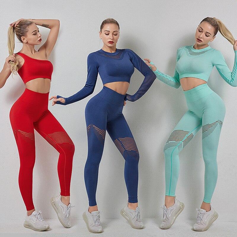 Conjunto de Yoga sem Costura Manga Longa Conjunto Yoga Ginásio Feminino Legging Roupas Cintura Alta Cor Esporte Apertado Respirável Terno