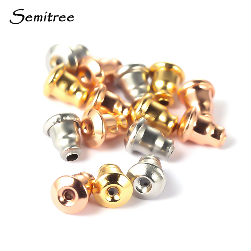 Semitree 50Pcs Stainless Steel Gold Bullet Earring Back Earrings Stopper DIY Earring Findings  Handmade Crafts Jewelry Making