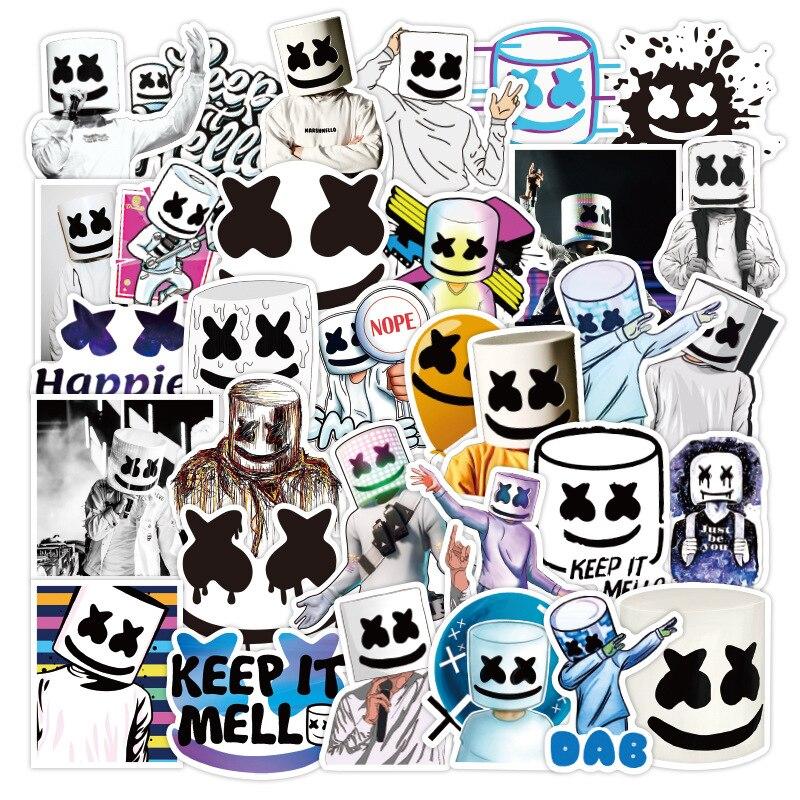 50pcs Marshmello Fans Stickers Doctom Chris Comstock EDM Singer Bullet Journal Stickers Notebook Wat