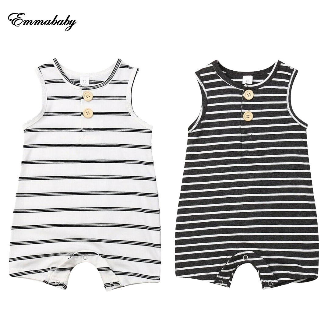 NEW 2020 Newborn Infant Baby Boys Girls Striped Clothes Sleeveless Rompers Summer Outfit