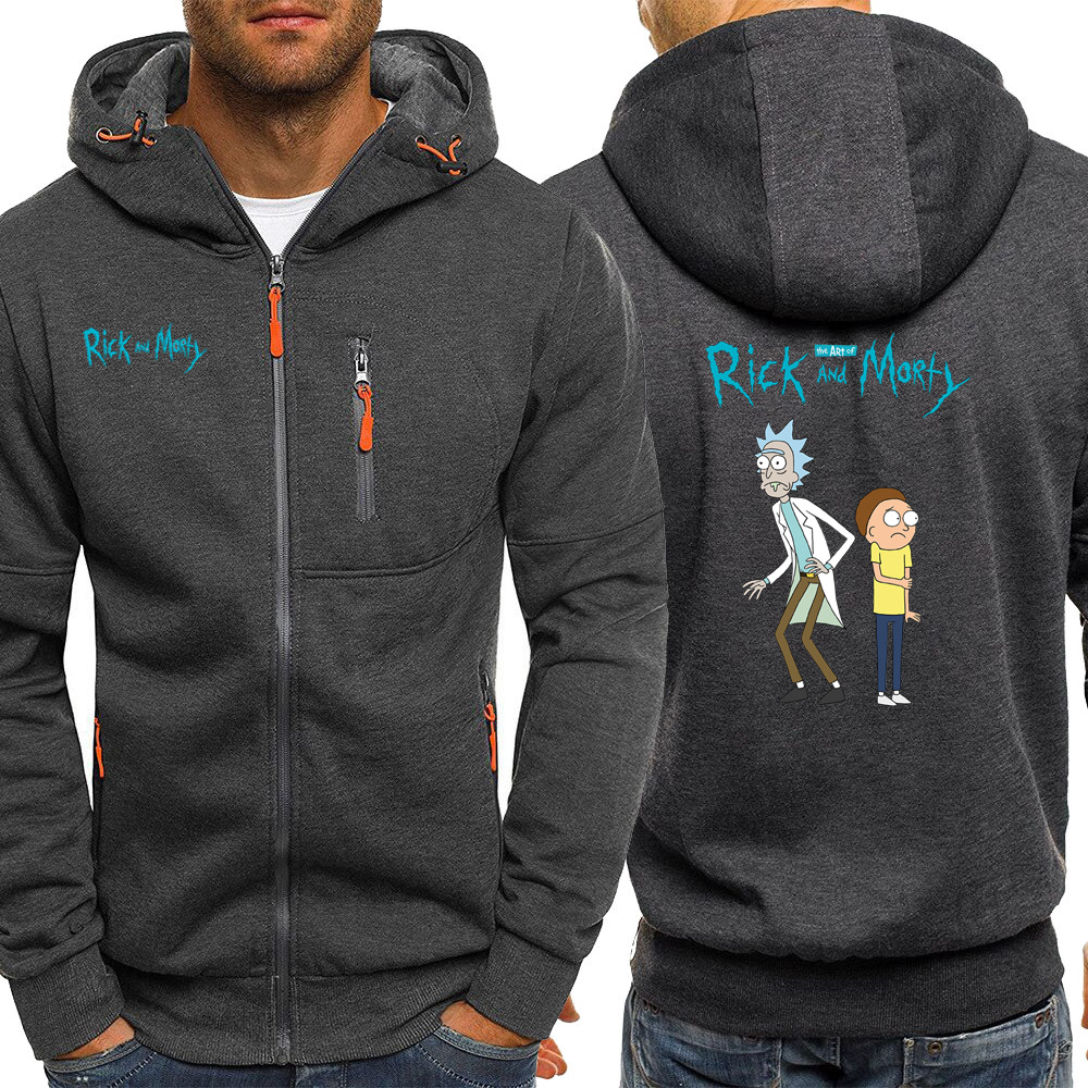 Rick And Morty Cartoon Men Hoodies Sweatshirt Autumn Hot Sale Hip Hop Long Sleeve Jacket Zipper Casual Coat Streetwear Hooded