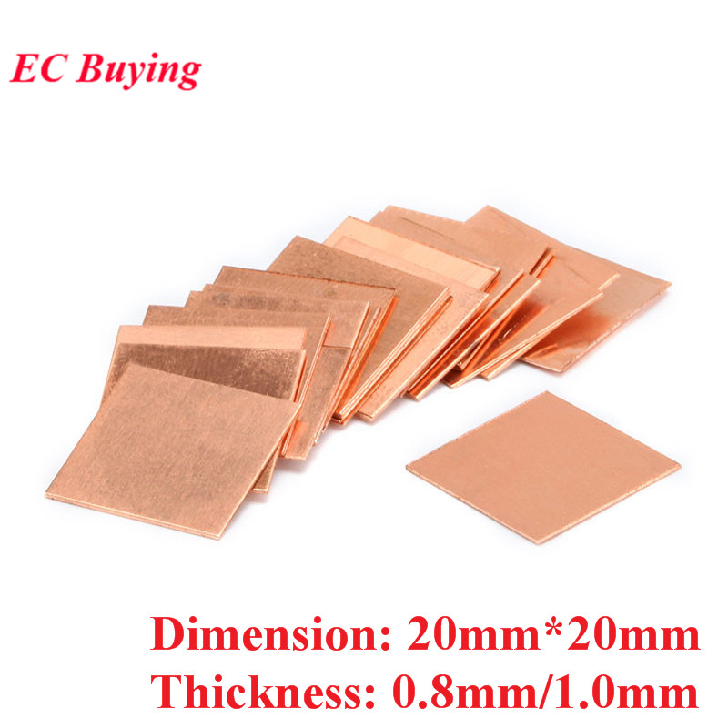 10pcs 20mm*20mm 0.8mm 1.0mm 20mmx20mm Thickness Heatsink Copper Shim Thermal Pads Heat Sink for Laptop GPU VAG PAD image