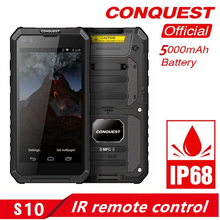 CONQUEST S10 IP68 Walkie Talkie Rugged Phone Add Strong Flashlight/Bar/QR Code/RFID/NFC and IoT Intelligent Handheld  Smartphone