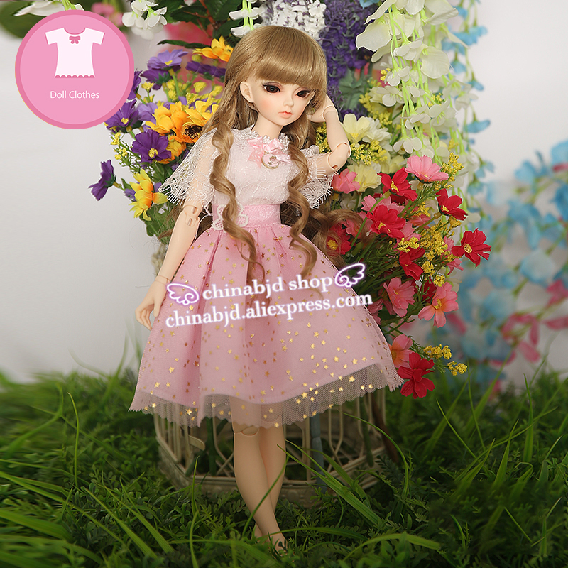 BJD Clothes 1/4 Girl Dress Skirt Star Grenadine For Minifee IP KID Body Fairyland Doll  YF4-80 Doll Accessories luodoll 1