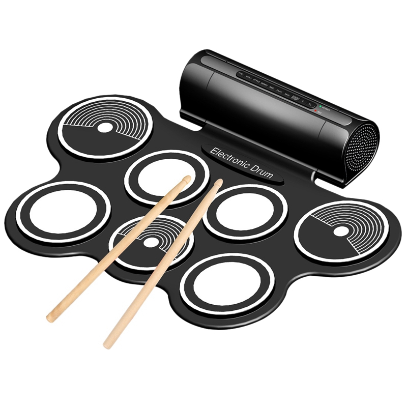 Portable Jazz Drum Folding Jazz Drum Stereo Dual Speaker Electronic Drum Digital Drum Us Plug
