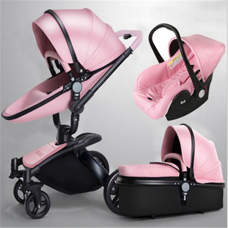 Luxury Baby Stroller 3 In 1 Fashion Eggshell Carriage European Pram Suit For Lying And Seat