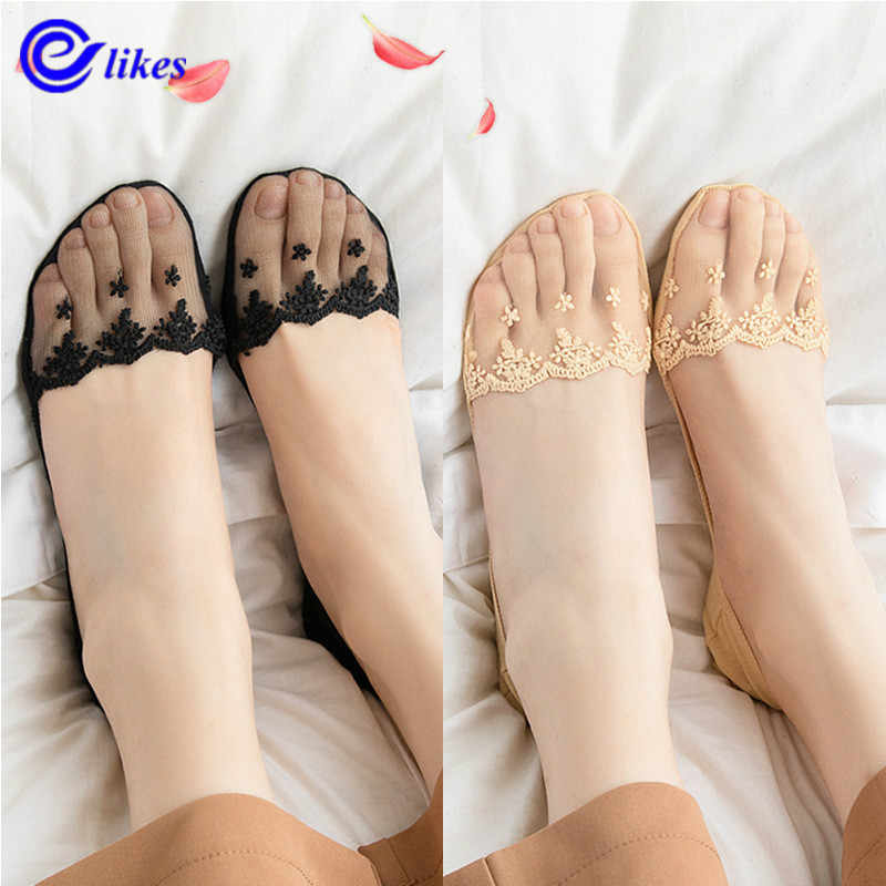 5 Pairs Womens Girls Silicone Heel Anti-slip Lace Boat Socks Invisible Socks UK