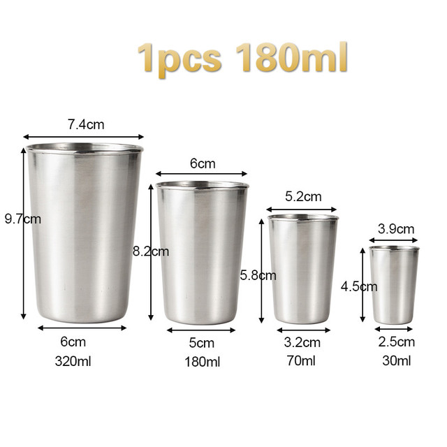 4pcs Drinking Glass Stainless Steel Shot Glasses Cups Wine Beer Whiskey Cup  #Z