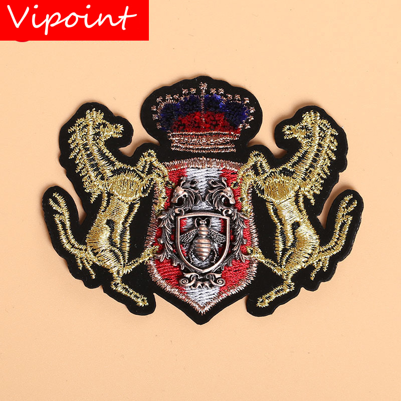 VIPOINT Toothbrush embroidery metal patch bee horse crown patches applique clothes jacket badge patches for clothing X-28 image