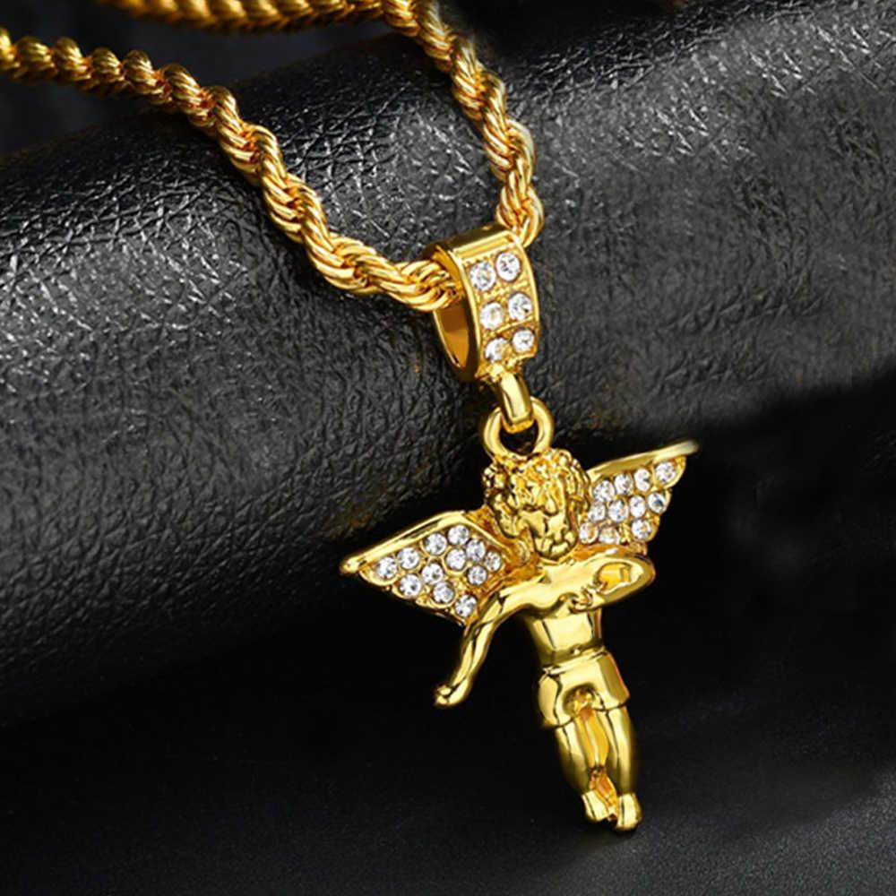 Nowe mody wysokiej jakości anioł wisiorek Bling kryształ złoty mały wisiorek łańcuch w stylu hip-hop naszyjnik biżuteria dla kobiet prezent dla mężczyzny