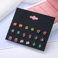 9 Pairs/set Trendy Metal Enamel Small Flower Stud Earrings For Women Girls Kids Jewelry Cute Insect Ladybug Bee Earring Set Mix france dyxytwe ladybug pink flower tassel luxury jewelry women gift enamel glaze jewelry