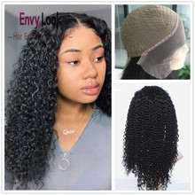 Wig Salon Remy-Hair Human with for Black Woman Lace-Frontal Curly Envy-Look Jerry Natural-Color