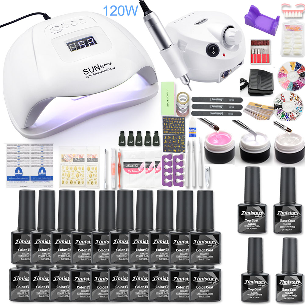 Nail Set 35000RPM Electric Machine Nail Drill 120W UV LED Lamp Dryer 30pcs Nail Gel Polish Kit Manicure Tools Set For Nail Art