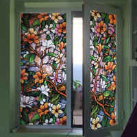 Painting Art Decorative Privacy Film Window Film Stained Flower Glass Sticker PVC Opaque Static Glue Free Bathroom Balcony Shade