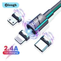 Elough 2,4 EINE Magnetische Kabel Schnelle Lade 3 In 1 USB Typ C Micro Kabel Für iPhone Xiaomi Poco Huawei magnet Ladegerät Kabel Draht