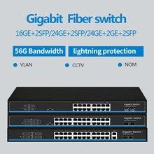 16 puertos 24 puertos RJ45 Gigabit Ethernet interruptor lan interruptor ethernet con 2 gigabit SFP para cámara ip AP inalámbrico