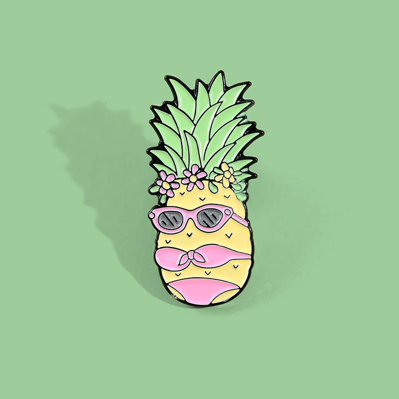 Miss Pineapple Enamel Pin Custom Bikini Fruit Brooches Bag Clothes Lapel Pin Funny Badge Holidays Summer Beach Jewelry Gift 5