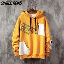Yellow Hoodie Men Sweatshirt Japanese Streetwear Singleroad Oversized Patchwork Harajuku