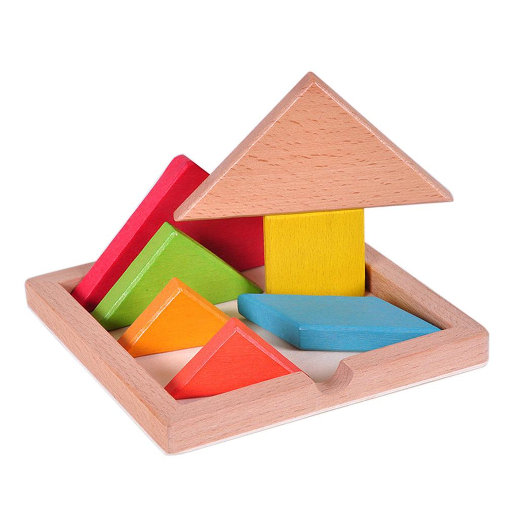 Tangram Jigsaw Puzzle Sliding Colorful Wooden IQ Children Puzzle Toys Logic Game Intelligence Imagination Toy Brain Teaser Kids