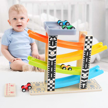 Toy Vehicles Wooden Urban Road Pattern Ramp Racer Track Inertial Sliding Car Playset with 4 Racers Toys for Kids Children