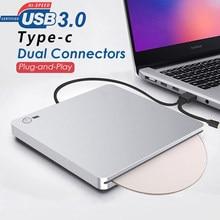 Gravador portátil externo do leitor de cd/dvd de usb 3.0/USB-C da movimentação de dvd para o computador portátil windows xp/7/8/10 para mac os
