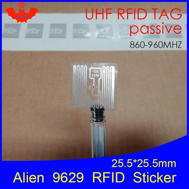 Etiqueta RFID adhesiva UHF Alien 9629 incrustación húmeda 915mhz 900 868mhz 860 960MHZ Higgs3 EPCC1G2 6C etiqueta adhesiva inteligente RFID pasiva