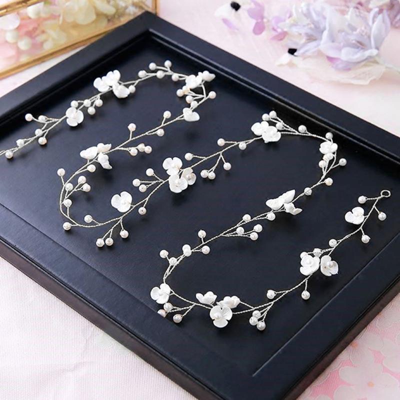 Fashion Bridal Wedding Crystal Hair Accessories Pearl Flower Headband Bride Hairband Beads Decoration Hair Comb For Women
