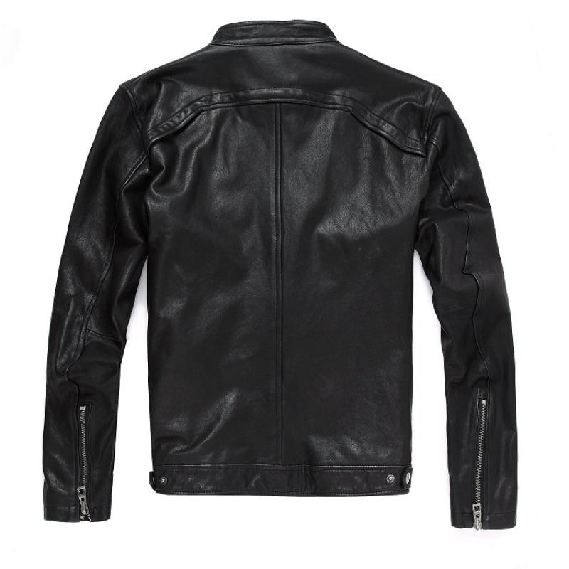 2020 New Men Leather Jacket Genuine Real Sheep Goat Skin Brand Black Male Bomber Motorcycle Biker Mans Coat Male Stand Collar