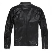 2020 New Men Leather Jacket Genuine Real Sheep Goat Skin Brand Black Male Bomber Motorcycle Biker Mans Coat Male Stand Collar(China)