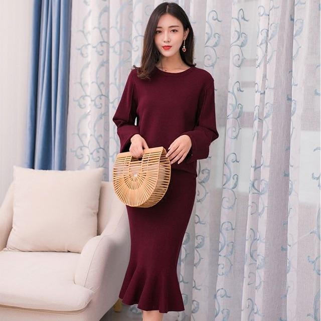 Winter Sweater Two-Piece Women's Fashion  Skirt Set 2019 New Style Korean-style Autumn And Winter Flounced Fishtail Skirt
