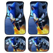 INSTANTARTS Cartoon Sonic The Hedgehog Set of 4 Car Floor Mats for Kids Boys Men Durable Rubber Truck Floor Mats Doormat Carpets floor mats liner 4 5d molded black fits nissan qashqai 2014 rubber floor mats