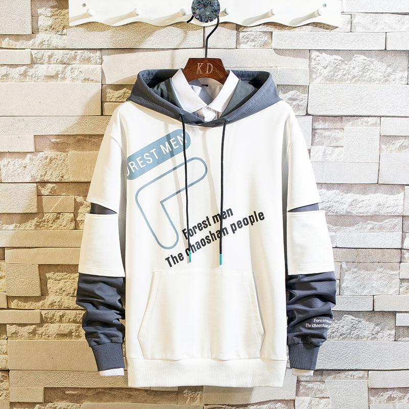 Men's Hoodies Men Spring Japanese Streetwear Tracksuit Men Patchwork Casual Sweatshirt Male Hip Hop Yellow Hoodie