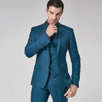 Mens Suits Slim Fit Groomsmen Wedding Tuxedos Three Pieces Groom Suit Peaked Lapel Formal Blazers With Jacket Vest Pants man suits 2 pieces formal slim jacket shawl lapel suit tuxedos groom coat fashion suits for wedding dinner dress jacket pants