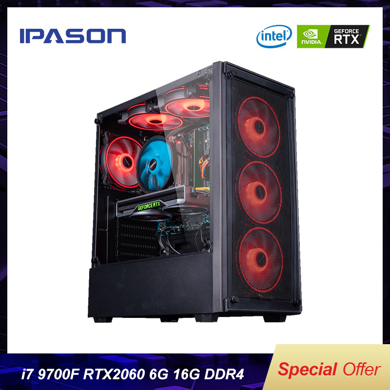 IPASON I7 8700 Upgrade I7 9700F/RTX2060 Turing Graphics Water-Cooled Desktop Assembly Machine PUBG High-end Gaming Computer PC