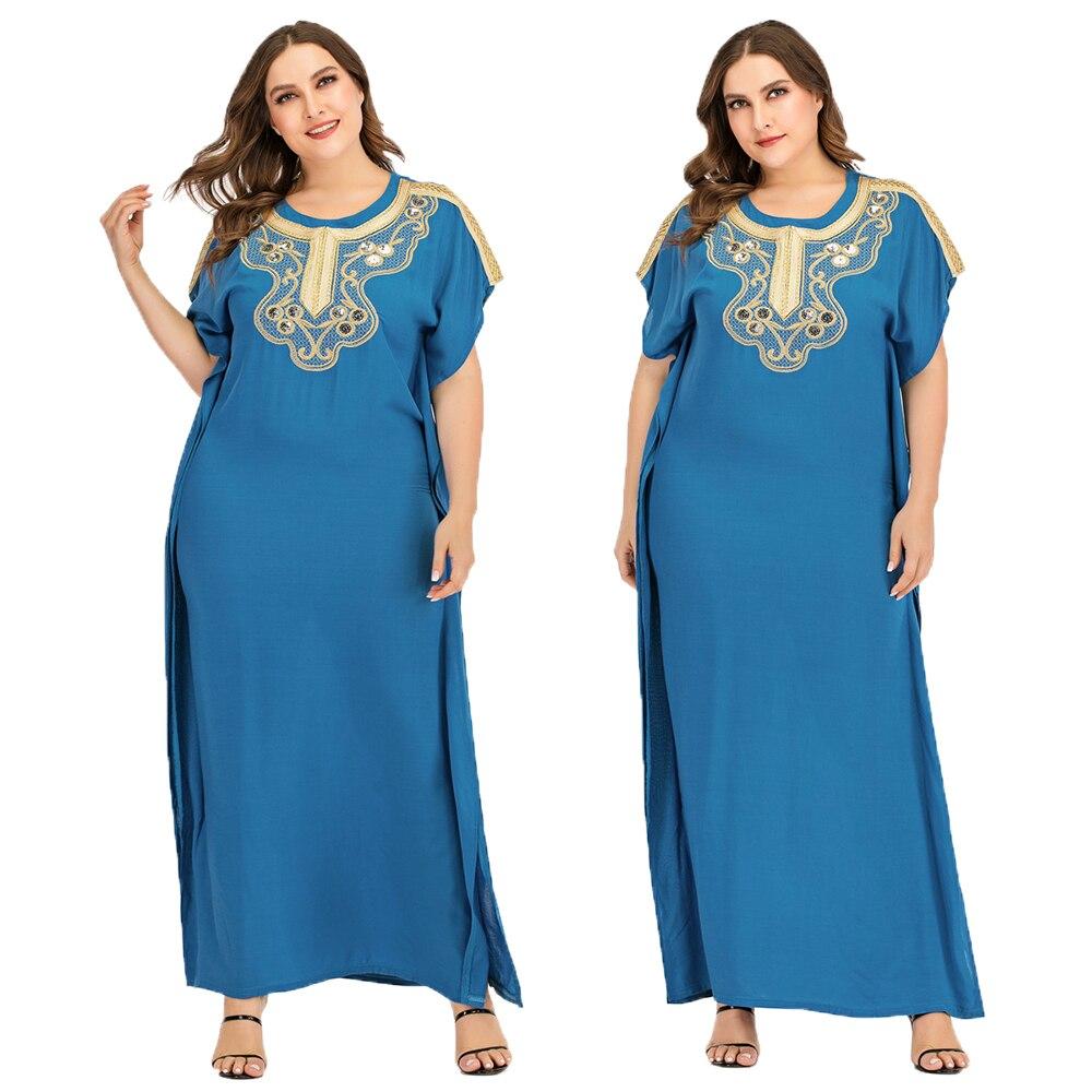 Blue Summer Islamic Abaya Muslim Women Short Sleeve Long Maxi Dress Casual Robe Arab Kaftan Ramadan Cocktail Party Caftan Jilbab