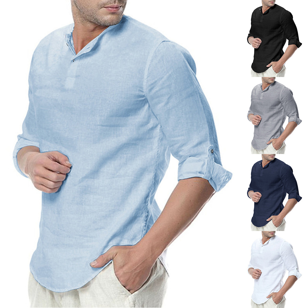 Cross-border For 2019 European And American-style Men'S Wear Stand-collar Foreign Trade Cotton Linen Long-sleeve Shirt Amazon Eb