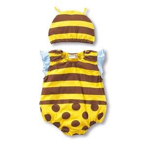 Боди для малышей + шляпа; Летний комбинезон для маленьких мальчиков и девочек с изображением арбуза, клубники, божьей коровки; хлопковые кос...
