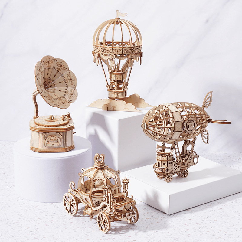 DIY 3D Wooden Puzzle Mechanical Gear Drive Model Toys Education Assembly Model Building Kit Toys Gifts For Children Adult Teens