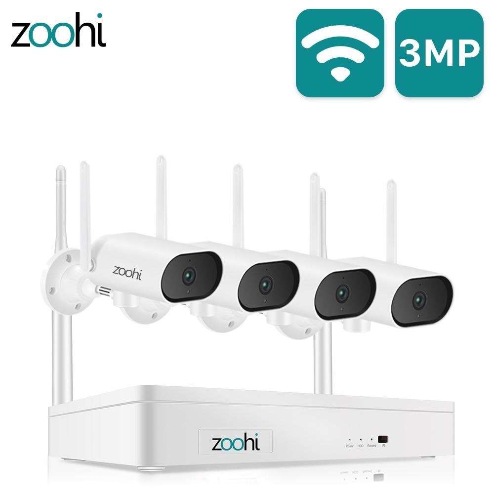 Zoohi 3MP система безопасности HD Горизонтально вращающаяся Wifi камера Запись звука ночного видения наружная система наблюдения