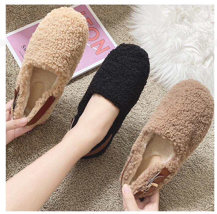 SLHJC Round Toe Loafers Flat Heel Slip On Women Autumn Flats Shoes Curly Fur Warm Female Drive Shoes 28