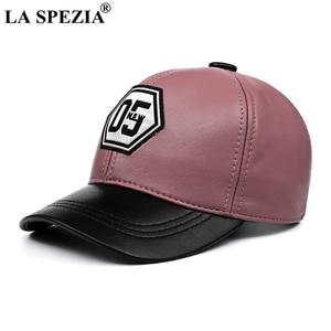 Image 4 - LA SPEZIA אמיתי עור בייסבול כובע גברים נשים כחול שחור טלאים באיכות גבוהה זכר נקבה חורף אבא כובע
