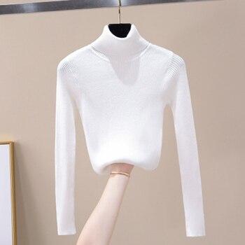 2020 Knitted Women turtleneck Sweater Pullovers Autumn Basic Women pulls femme Sweaters Pullover Sli