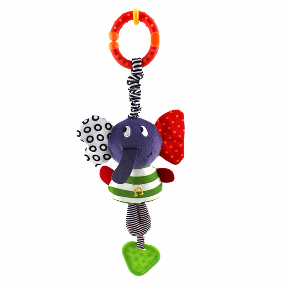 2020 New Christmas Music Elephant Lathe Rattles Hang Baby Kids Dolls Educational Toys Teether Hanging Bed Hanging Belt Gift