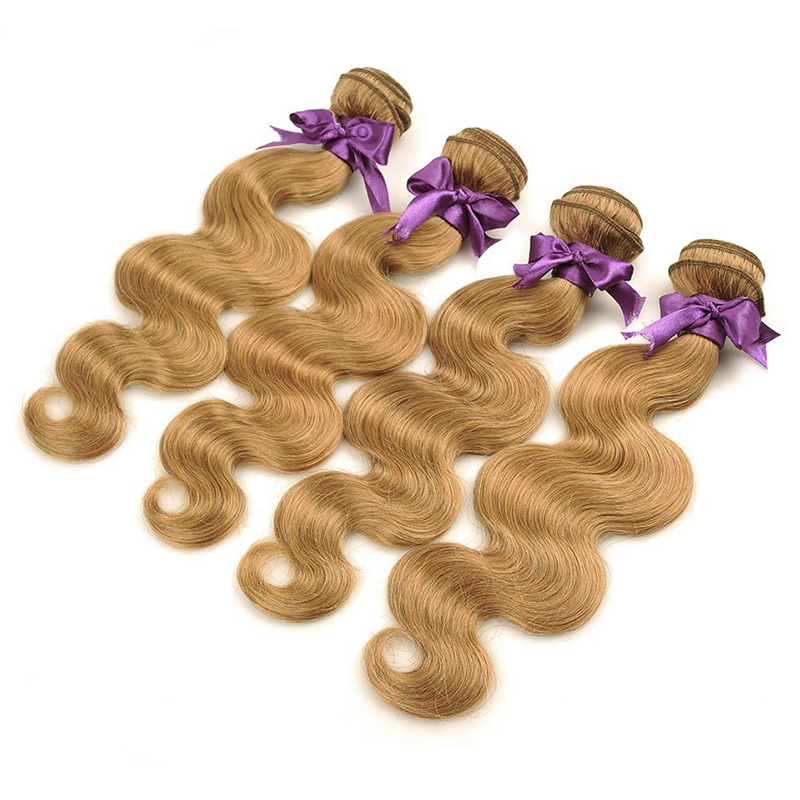 Image 5 - I Envy Blonde 바디 웨이브 번들 브라질 헤어 위브 번들 #27 Colored 1 3 4 Bundles Deals Non Remy Honey Blonde Human Hair헤어 위브즈   -