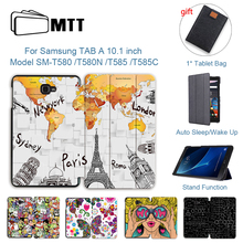 MTT Case For Samsung Galaxy Tab A A6 10.1 inch Fold Flip PU Leather Tablet Case Cover 2016 T580 T585 T580N T585N Funda cowboy pattern case for samsung galaxy tab a a6 10 1 2016 t580 t585 sm t580 t580n case cover funda tablet stand protective shell