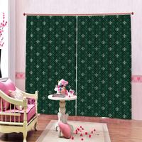 Art Print Deco Pattern Window Curtains Geometric image on Green Polyester Fabric Shower Curtains